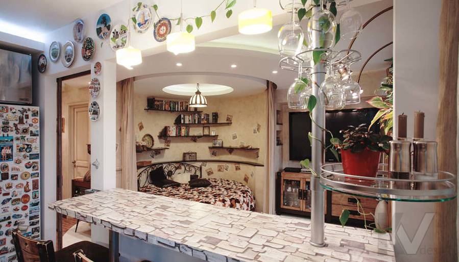 дизайн однокомнатной квартиры - фото гостиной 2