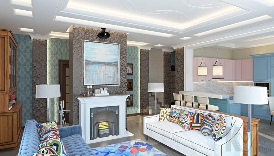 Дизайн гостиной-кухни в трехэтажном доме - 1