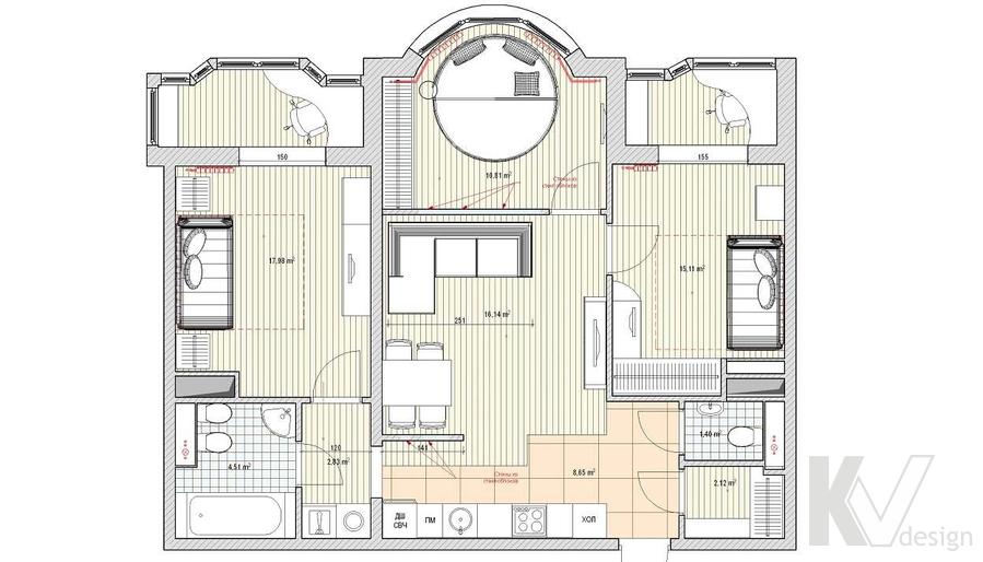 Дизайн квартиры в Митино, планировка-1
