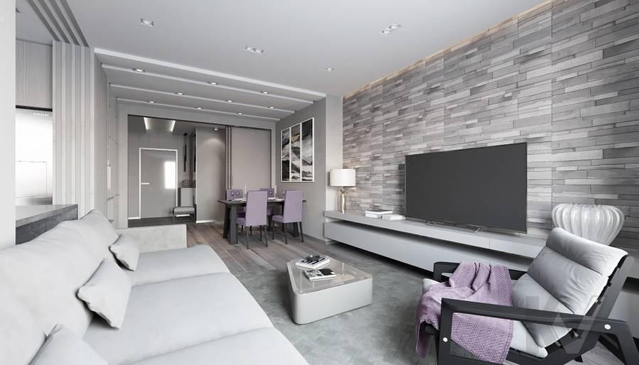 Гостиная в проекте объединения квартир, Мытищи - 4