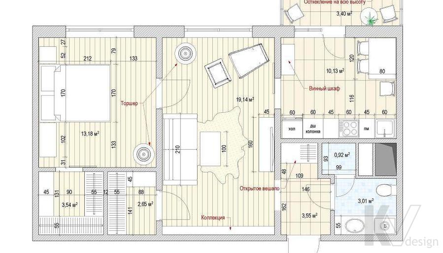 перепланировка квартиры КОПЭ-М-Парус