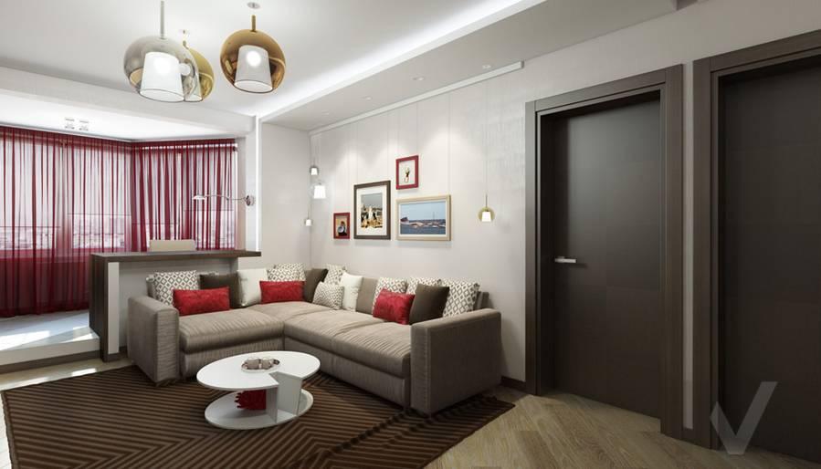 дизайн гостиной в 3-комнатной квартире П-44Т, Речной вокзал - 2
