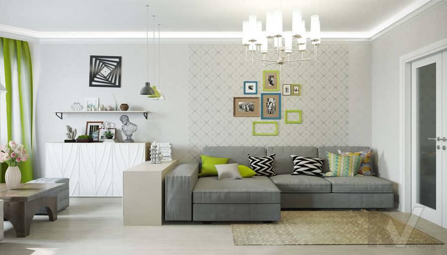 Дизайн гостиной в квартире П-3М на Профсоюзной - 1