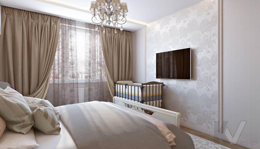 Спальня в 3-комнатной квартире П-44Т, Люблино - 1