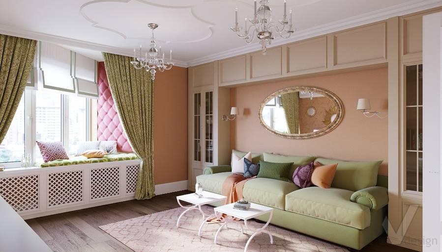 Дизайн гостиной в квартире на м. Смоленская - 1