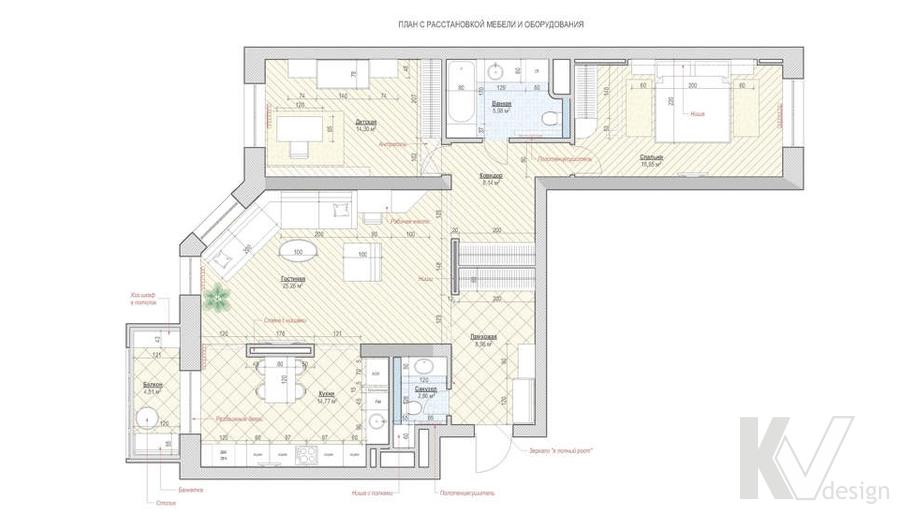 Перепланировка в 3-комнатной квартире 100 кв.м., Реутов