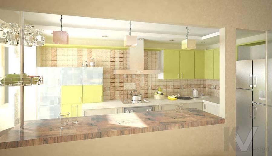 3D визуализация кухни однокомнатной квартиры, дневное освещение