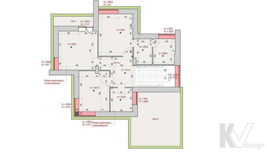 Перепланировка второго этажа дома, КП Монтевиль
