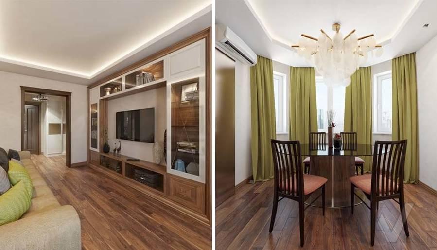 дизайн гостиной в четырехкомнатной квартире П-3М - 4