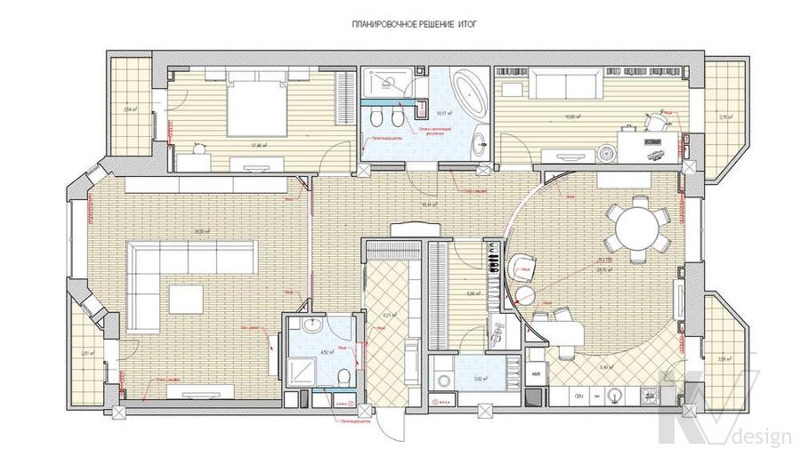 Дизайн 4-комнатной квартиры, Одинцово, планировка