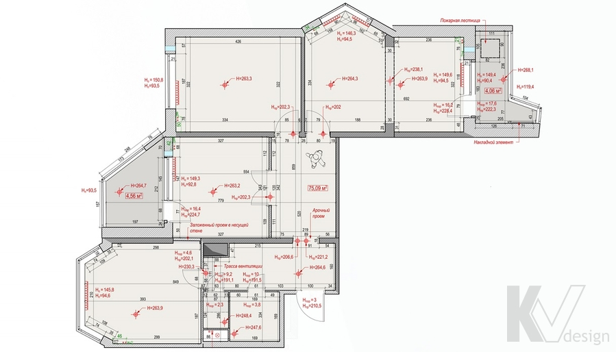 Планировка 3-комнатной квартиры П-44Т, Медведково