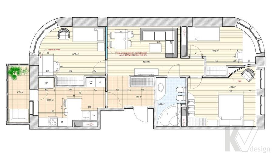 Дизайн квартиры 70 кв.м., план-2