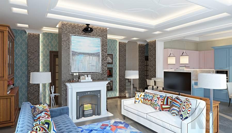 Дизайн гостиной-кухни в трехэтажном доме - 2