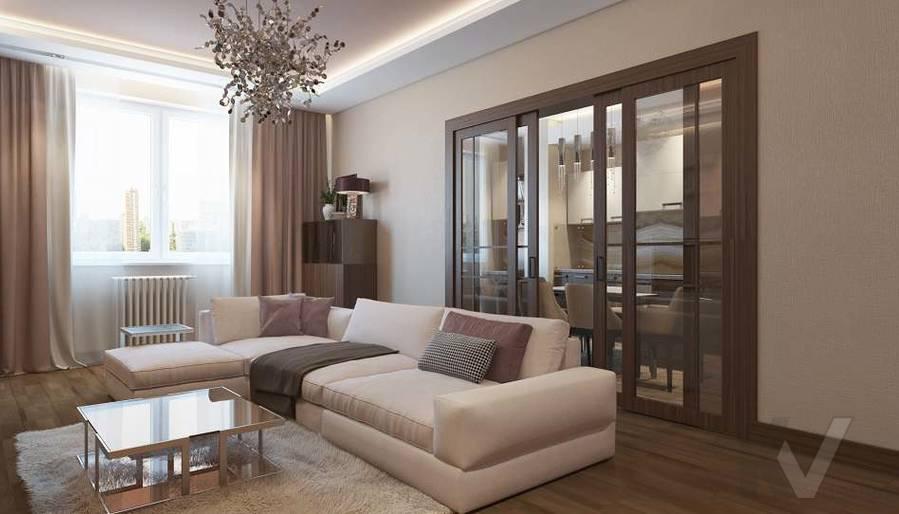 Дизайн гостиной в двухкомнатной квартире, ЖК Розмарин - 2