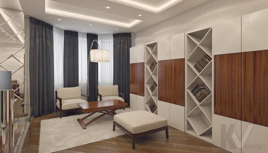 Дизайн гостиной в 4-комнатной квартире, м. Киевская - 4