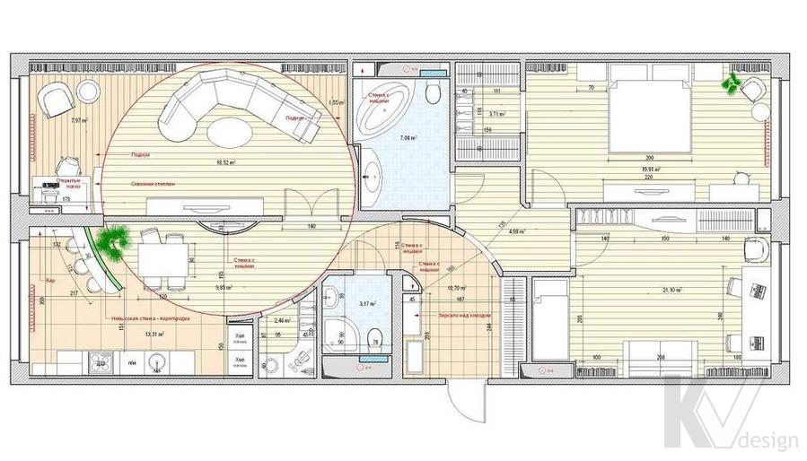 Дизайн квартиры в ЖК Аэробус, итоговая планировка