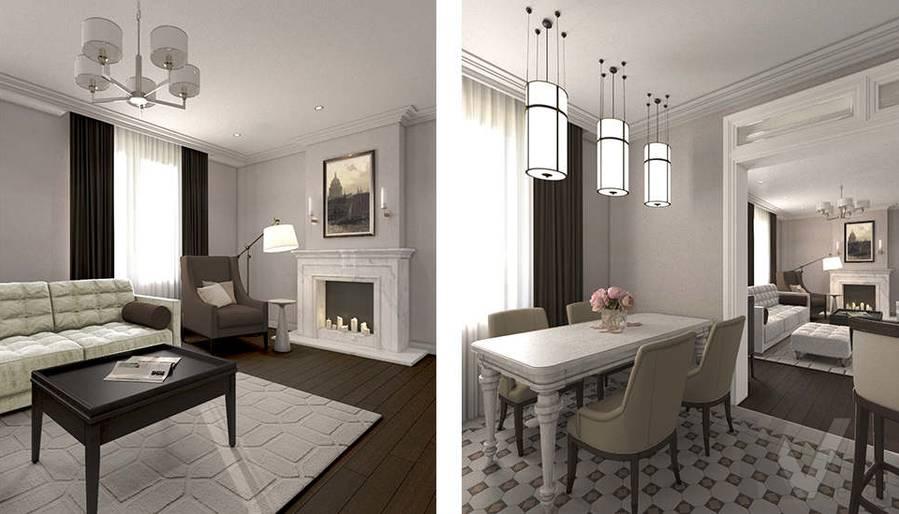 дизайн гостиной-кухни в 3-комнатной квартире, Welton Park - 4