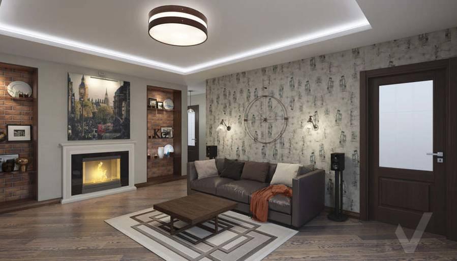 дизайн гостиной в 3-комнатной квартире в ЖК Лосиный Остров - 1
