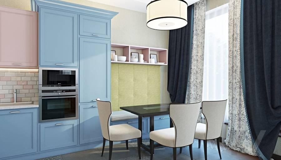 Дизайн гостиной-кухни в трехэтажном доме - 8