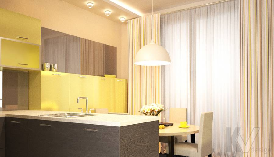 Дизайн столовой зоны в 2-комн. квартире, Подольск