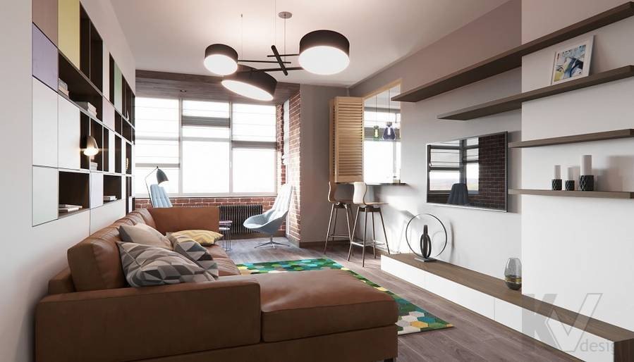 Дизайн гостиной в ЖК «На Циолковского» - 1