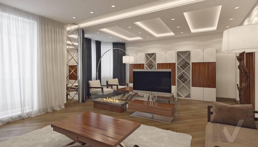 Дизайн гостиной в 4-комнатной квартире, м. Киевская - 2