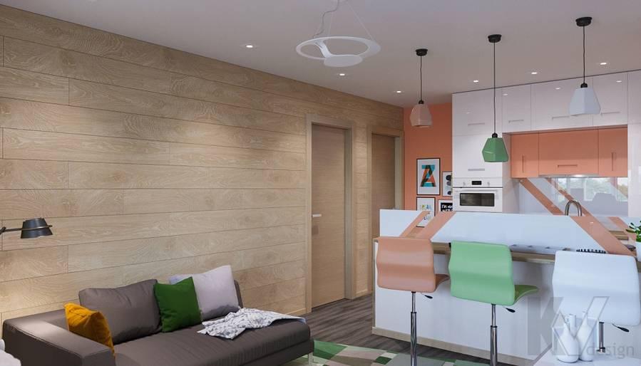 Дизайн гостиной-кухни П-44Т, Бутово Парк - 1