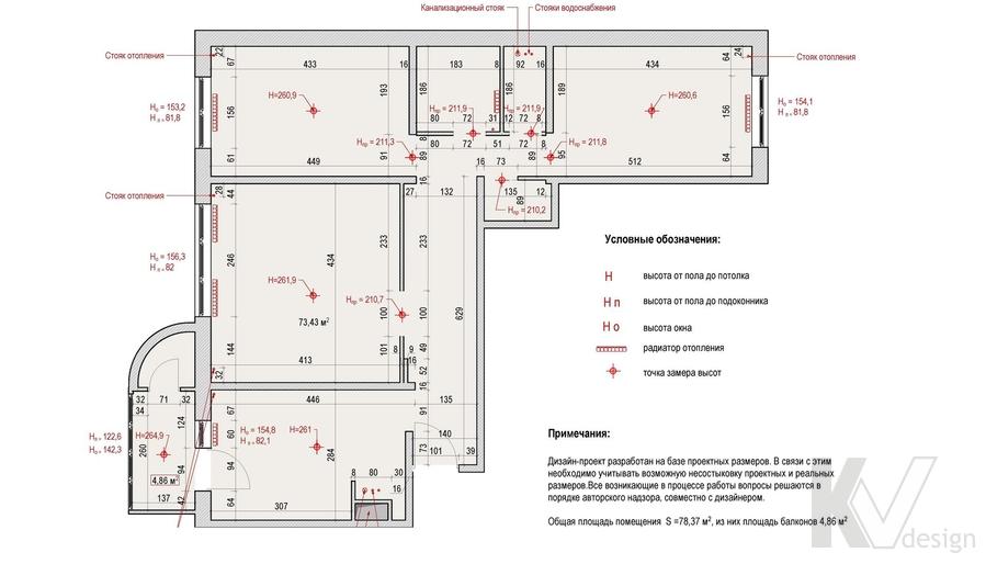 Обмерный план квартиры, Солнцево Парк