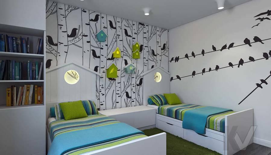Дизайн спальни-детской в 5-комнатной квартире, Климовск - 1