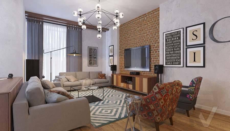 Дизайн гостиной в доме, КП Монтевиль - 1