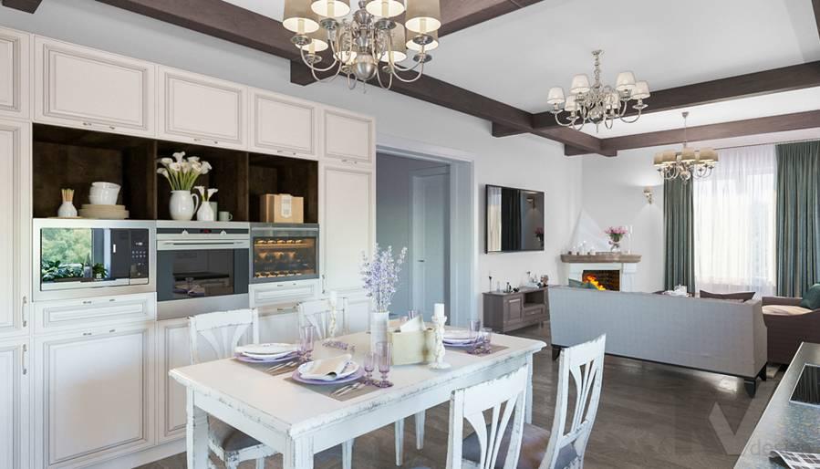 Гостиная-кухня на первом этаже в доме КП Дубровские Зори - 7