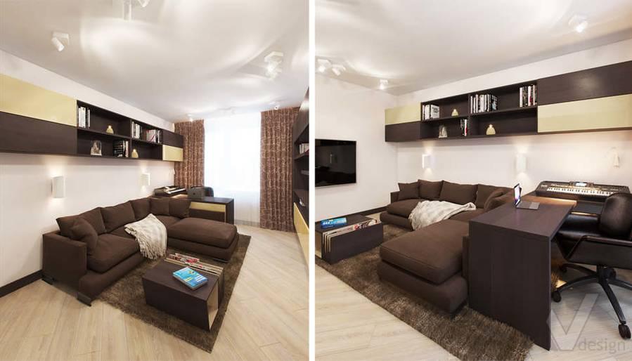 дизайн гостиной в квартире П-3М, Владыкино - 5