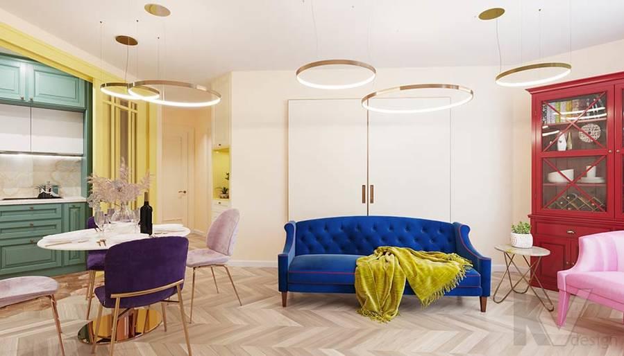 Дизайн гостиной-кухни в ЖК Летний Сад - 1