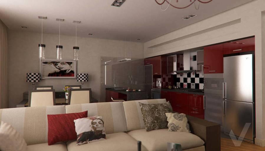 Дизайн таунхауса в п. Жаворонки, гостиная-3