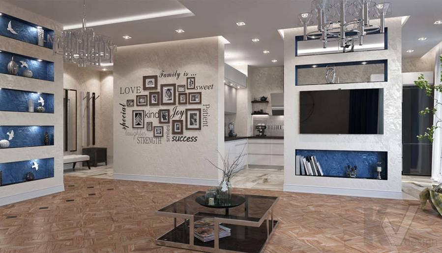 дизайн гостиной в 3-комнатной квартире 100 кв.м., Реутов - 3