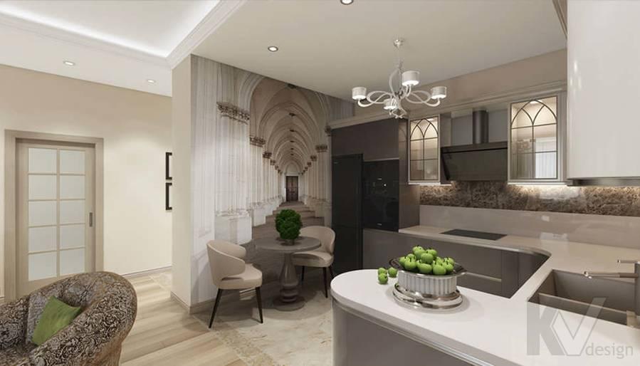 """Дизайн гостиной-кухни в 2-комнатной квартире, ЖК """"Авеню 77"""" - 10"""