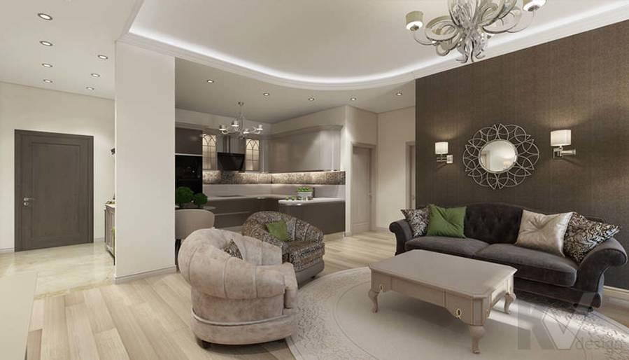 """Дизайн гостиной-кухни в 2-комнатной квартире, ЖК """"Авеню 77"""" - 11"""