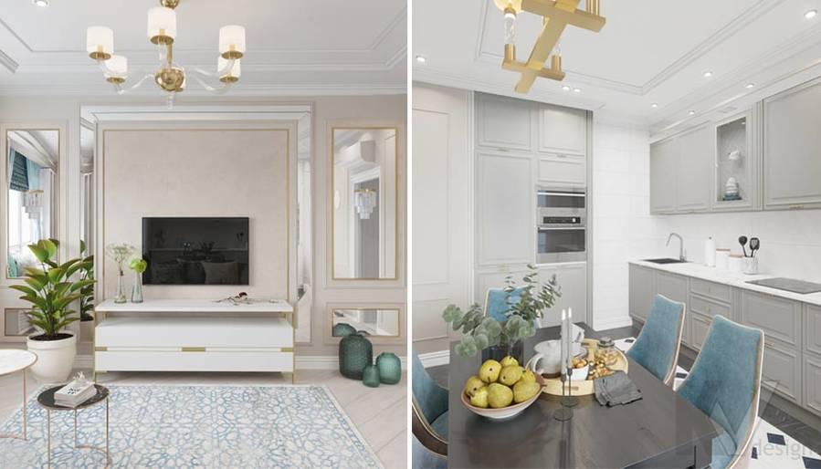 Дизайн гостиной-кухни в ЖК Тимирязев Парк - 7