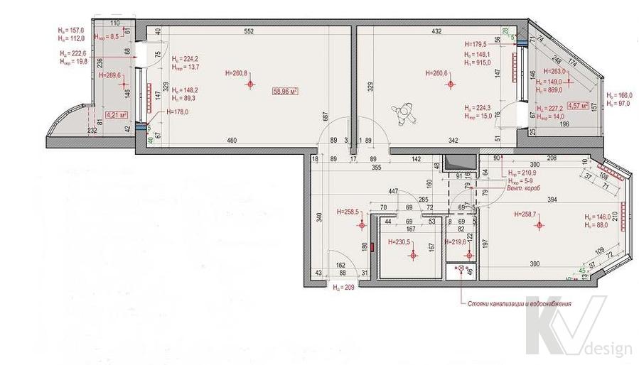Планировка в двухкомнатной квартире, Сходненская