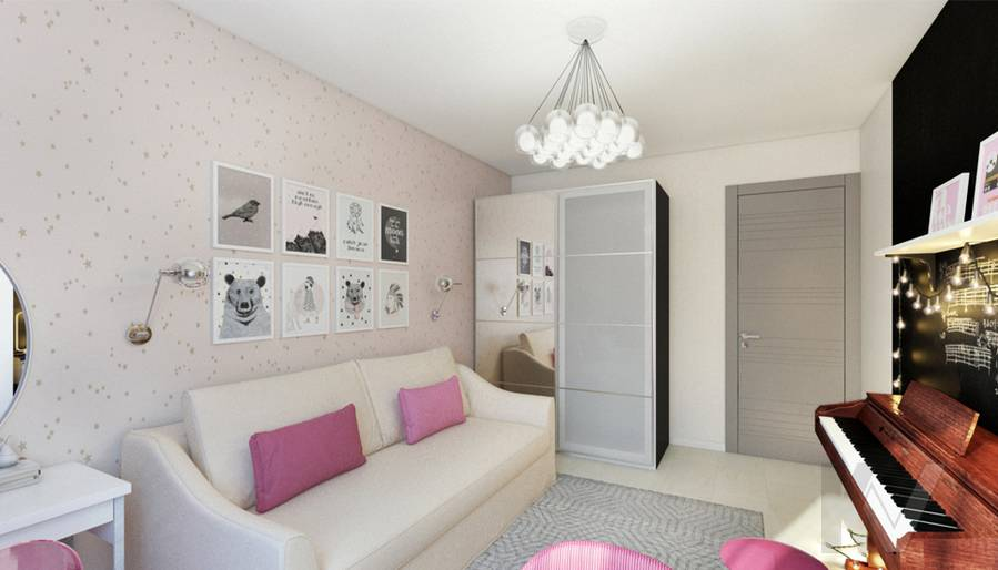 Комната девочки в 2-комнатной квартире П-111М, Тропарево - 1