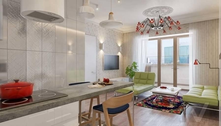 дизайн гостиной, квартира на Мосфильмовской - 1
