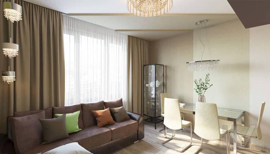 дизайн гостиной в 3-комнатной квартире, Welton Park - 1