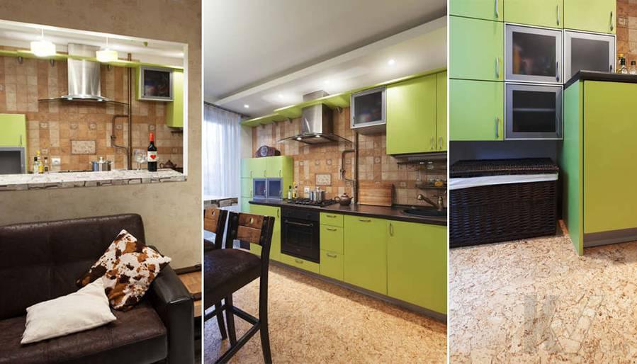 дизайн однокомнатной квартиры - фотогалерея кухни