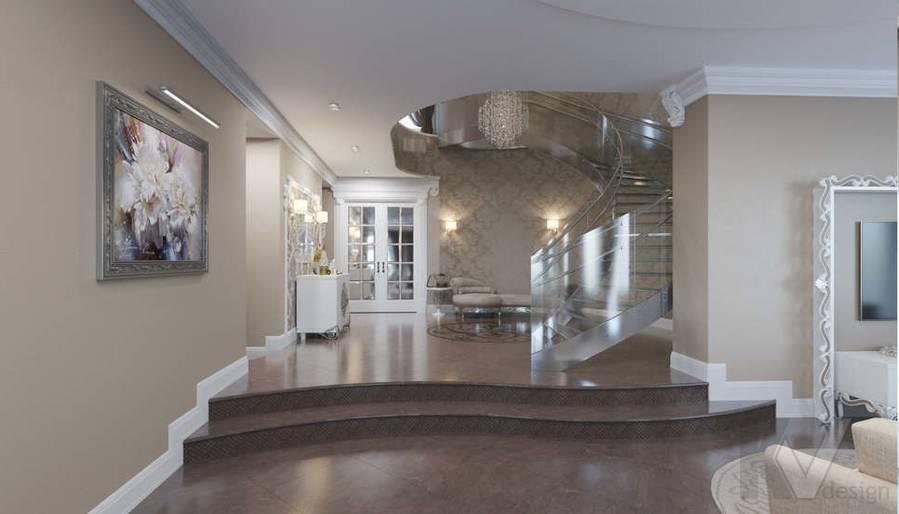 Дизайн холла на 1-ом этаже в коттедже, КП Эдельвейс - 1