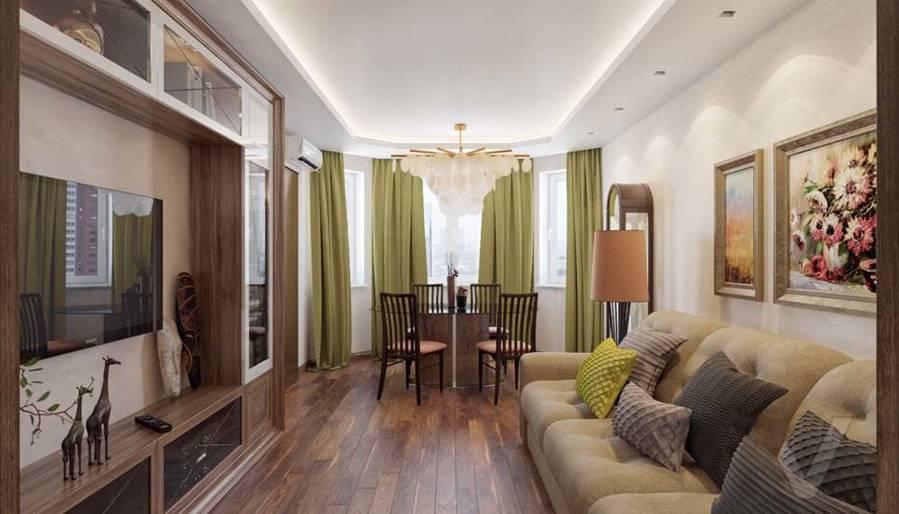 дизайн гостиной в четырехкомнатной квартире П-3М - 2