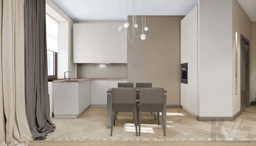 дизайн гостиной-кухни в 3-комн. квартире на Сухаревской - 6