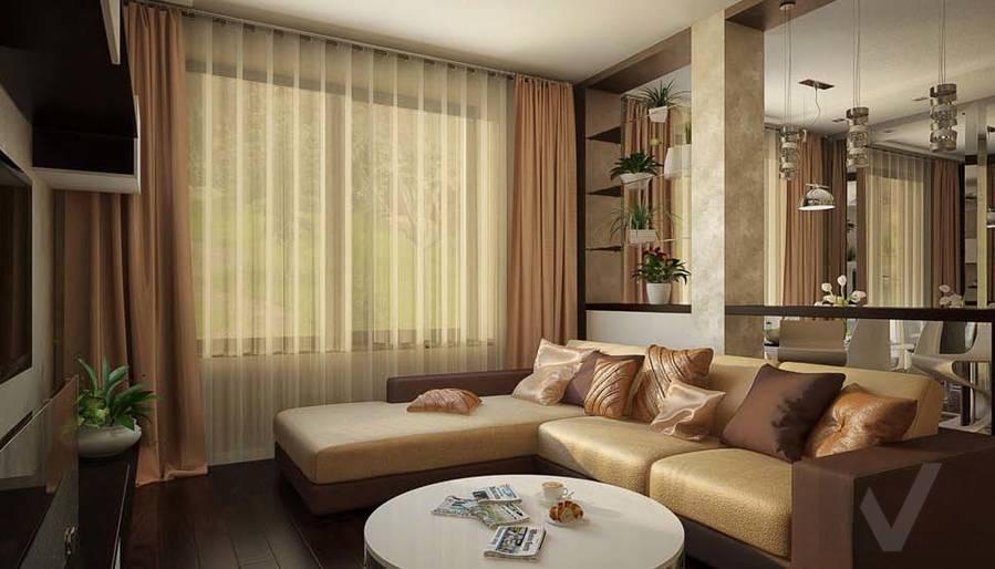 Таунхаус в п. Павлово, дизайн гостиной - 2