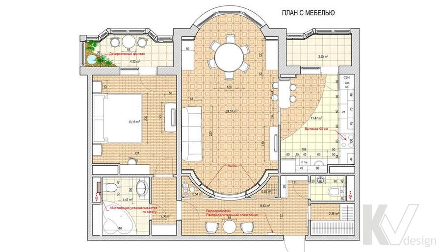 перепланировка двухкомнатной квартиры И-155, Мытищи