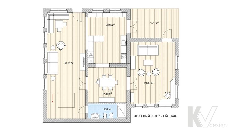 Этажный план частного загородного дома, Пушкино