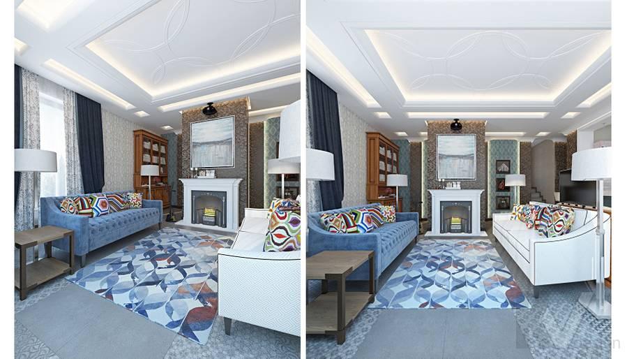 Дизайн гостиной-кухни в трехэтажном доме - 13